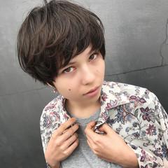 小顔 ショートバング ショート 似合わせ ヘアスタイルや髪型の写真・画像