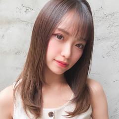 前髪 ストレート セミロング シースルバング ヘアスタイルや髪型の写真・画像