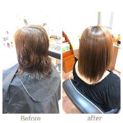 ストレート ナチュラル ミディアム 艶髪 ヘアスタイルや髪型の写真・画像