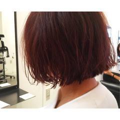 コーラル ストリート ピンク ボブ ヘアスタイルや髪型の写真・画像