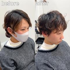 ショート ワイドバング ショートパーマ ショートヘア ヘアスタイルや髪型の写真・画像