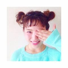 ミディアム シースルーバング ショート お団子 ヘアスタイルや髪型の写真・画像