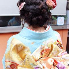 ヘアアレンジ ロング 編み込み 着物 ヘアスタイルや髪型の写真・画像