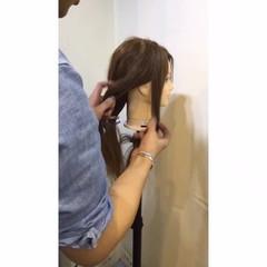 ショート セミロング ポニーテール 編み込み ヘアスタイルや髪型の写真・画像