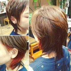 ウルフカット ショート アッシュ ストリート ヘアスタイルや髪型の写真・画像