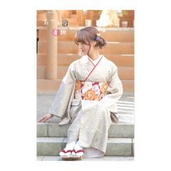 セミロング フェミニン 簡単ヘアアレンジ ゆるふわ ヘアスタイルや髪型の写真・画像
