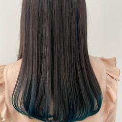 ターコイズ インナーカラー ロング ダブルカラー ヘアスタイルや髪型の写真・画像