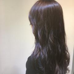 モード ロング 暗髪 バイオレットアッシュ ヘアスタイルや髪型の写真・画像