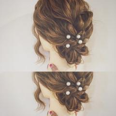 パールアクセ アップスタイル フェミニン 結婚式 ヘアスタイルや髪型の写真・画像