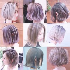 バレイヤージュ ボブ 冬 ナチュラル ヘアスタイルや髪型の写真・画像