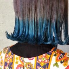フェミニン ミディアム 切りっぱなしボブ ダブルカラー ヘアスタイルや髪型の写真・画像