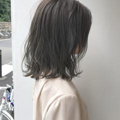 切りっぱなし 透明感 ハイライト ロブ ヘアスタイルや髪型の写真・画像