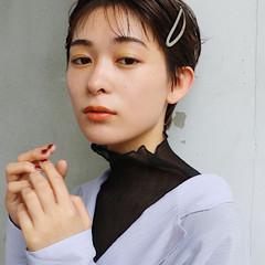 ベリーショート ショートアレンジ ウェットヘア シースルーバング ヘアスタイルや髪型の写真・画像