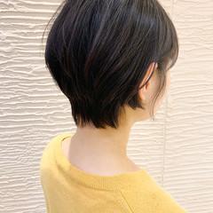 黒髪 ナチュラル 前下がりショート ショート ヘアスタイルや髪型の写真・画像