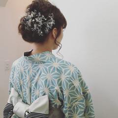 お祭り 後れ毛 波ウェーブ 夏 ヘアスタイルや髪型の写真・画像