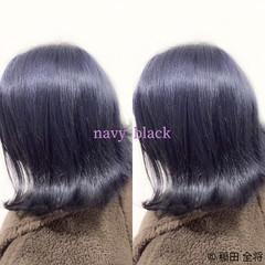 ストリート ヘアカラー ネイビー ネイビーブルー ヘアスタイルや髪型の写真・画像