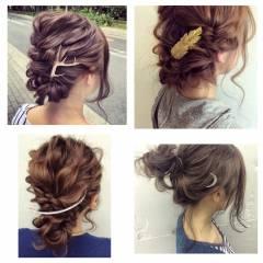 ルーズ ヘアアレンジ 簡単ヘアアレンジ フェミニン ヘアスタイルや髪型の写真・画像