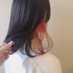 ボブ レッド インナーカラー ダブルカラー ヘアスタイルや髪型の写真・画像