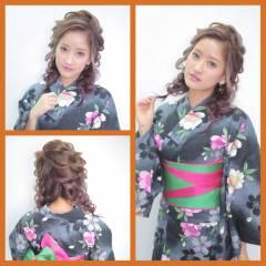 ガーリー ヘアアレンジ 編み込み 和装 ヘアスタイルや髪型の写真・画像
