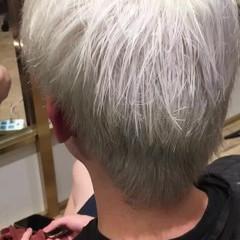 ショート ハイライト 秋 ストリート ヘアスタイルや髪型の写真・画像
