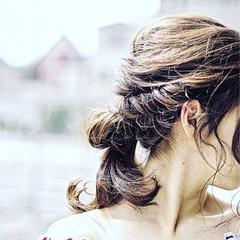 大人かわいい 簡単ヘアアレンジ 夏 ミディアム ヘアスタイルや髪型の写真・画像