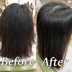 ツヤ髪 美髪 ミディアム 縮毛矯正 ヘアスタイルや髪型の写真・画像