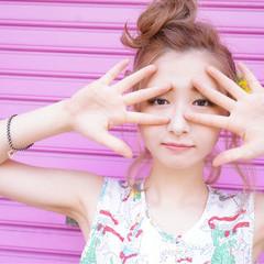 メッシーバン ボブ お団子 ピンク ヘアスタイルや髪型の写真・画像