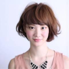 ナチュラル 卵型 ボブ フェミニン ヘアスタイルや髪型の写真・画像