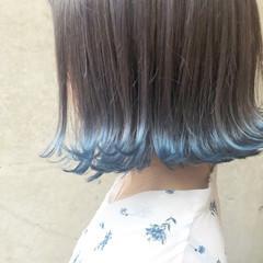 バレイヤージュ ストリート グレージュ ボブ ヘアスタイルや髪型の写真・画像