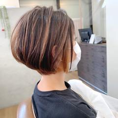 丸みショート 大人グラボブ ハイライト ショートボブ ヘアスタイルや髪型の写真・画像
