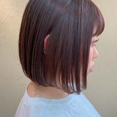 ミニボブ ラベンダーピンク ナチュラル ピンクラベンダー ヘアスタイルや髪型の写真・画像