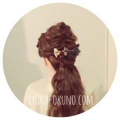 ヘアアクセ ヘアアレンジ ナチュラル セミロング ヘアスタイルや髪型の写真・画像