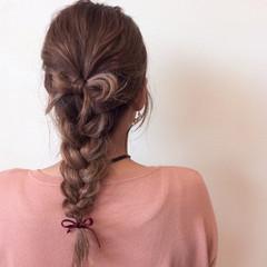 編み込み 三つ編み デート ヘアアレンジ ヘアスタイルや髪型の写真・画像
