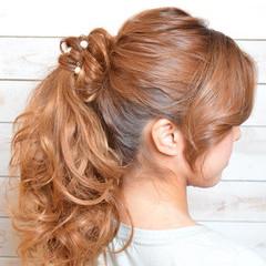 パールアクセ セミロング ガーリー ヘアアレンジ ヘアスタイルや髪型の写真・画像