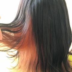 切りっぱなしボブ オレンジベージュ インナーカラー インナーカラーオレンジ ヘアスタイルや髪型の写真・画像
