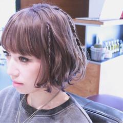 アッシュ ハイライト ボブ ミルクティー ヘアスタイルや髪型の写真・画像