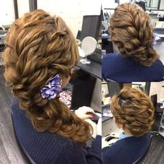 外国人風 ヘアアレンジ ブライダル セミロング ヘアスタイルや髪型の写真・画像