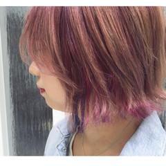 ハイライト ピンク ボブ ストリート ヘアスタイルや髪型の写真・画像