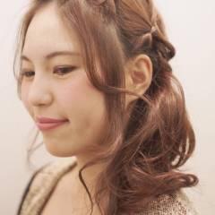 ゆるふわ ヘアアレンジ ミディアム 学校 ヘアスタイルや髪型の写真・画像