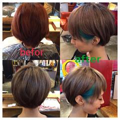 ショート フェス マッシュ ハイトーン ヘアスタイルや髪型の写真・画像