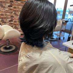 ブルー ミディアム 韓国ヘア 個性的 ヘアスタイルや髪型の写真・画像