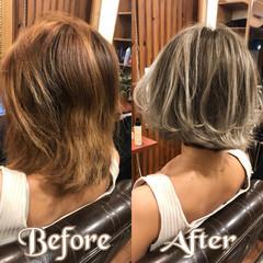 外国人風 グレージュ ハイライト ホワイト ヘアスタイルや髪型の写真・画像