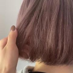 ミルクティーベージュ ミルクティーグレージュ ガーリー ラベンダーピンク ヘアスタイルや髪型の写真・画像
