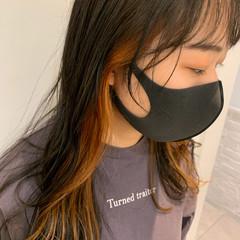 アッシュ イヤリングカラー オレンジカラー オレンジ ヘアスタイルや髪型の写真・画像