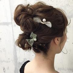 フェミニン ゆるふわ ミディアム ヘアアレンジ ヘアスタイルや髪型の写真・画像