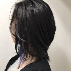 モード パープル インナーカラー ハイライト ヘアスタイルや髪型の写真・画像