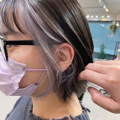 インナーカラー ショートヘア 韓国風ヘアー 韓国ヘア ヘアスタイルや髪型の写真・画像