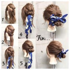 ヘアアレンジ ショート ヘアアクセ セミロング ヘアスタイルや髪型の写真・画像