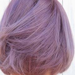 バイオレットアッシュ ミニボブ ストリート ピンクバイオレット ヘアスタイルや髪型の写真・画像