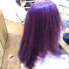 バイオレット ピンクバイオレット ハイトーンカラー ハイトーン ヘアスタイルや髪型の写真・画像